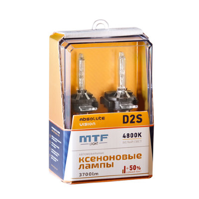 Лампы ксеноновые MTF Light D2S, ABSOLUTE VISION 50%, 3800lm, 4800K, 35W, 85V, 2шт.